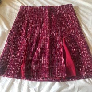 Draper James tweed plaid skirt with slits